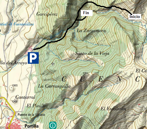Mapa accesos barranco de portilla